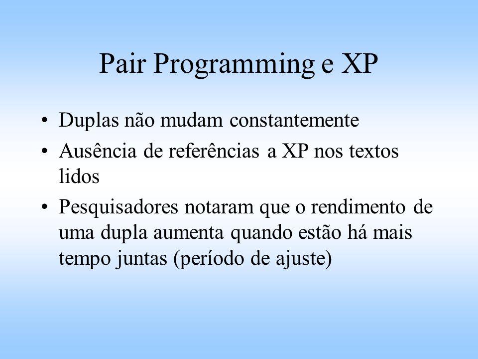 Pair Programming e XP Duplas não mudam constantemente Ausência de referências a XP nos textos lidos Pesquisadores notaram que o rendimento de uma dupla aumenta quando estão há mais tempo juntas (período de ajuste)