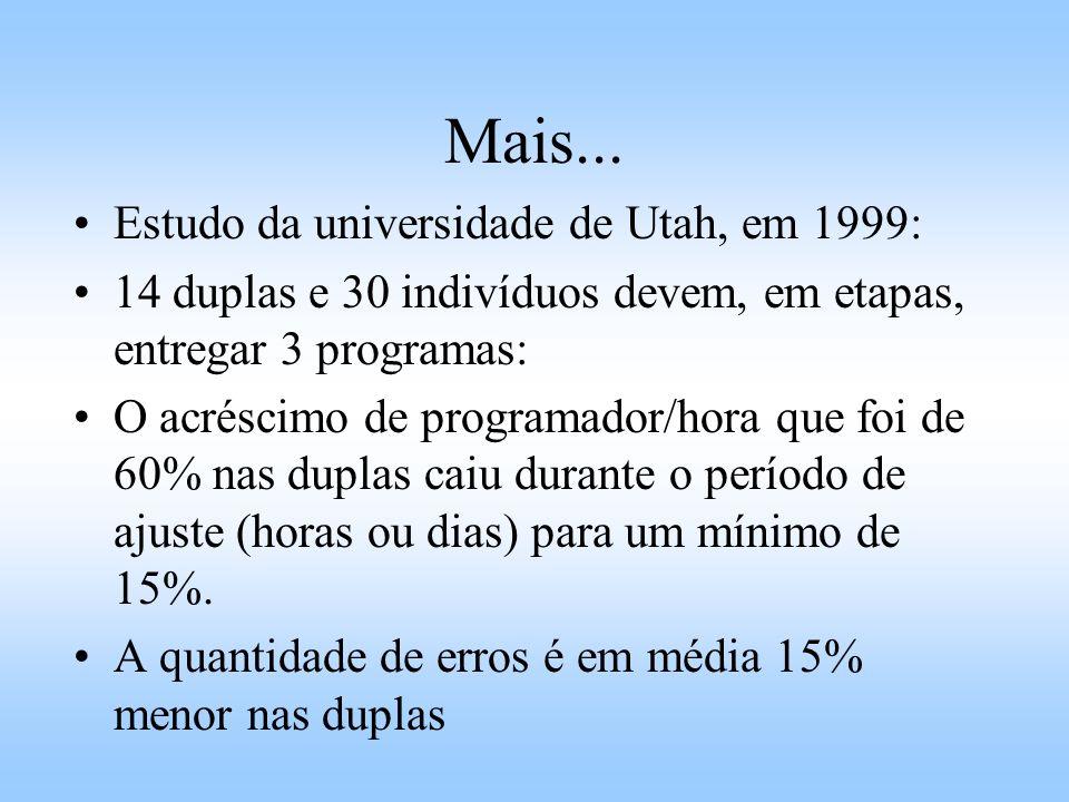 Mais... Estudo da universidade de Utah, em 1999: 14 duplas e 30 indivíduos devem, em etapas, entregar 3 programas: O acréscimo de programador/hora que