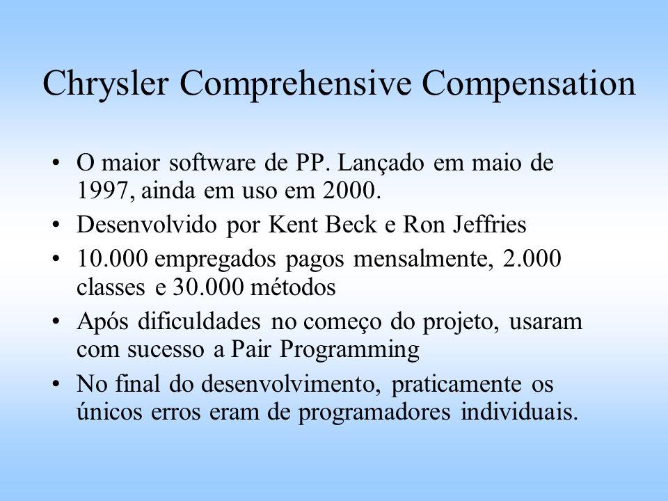 Chrysler Comprehensive Compensation O maior software de PP. Lançado em maio de 1997, ainda em uso em 2000. Desenvolvido por Kent Beck e Ron Jeffries 1