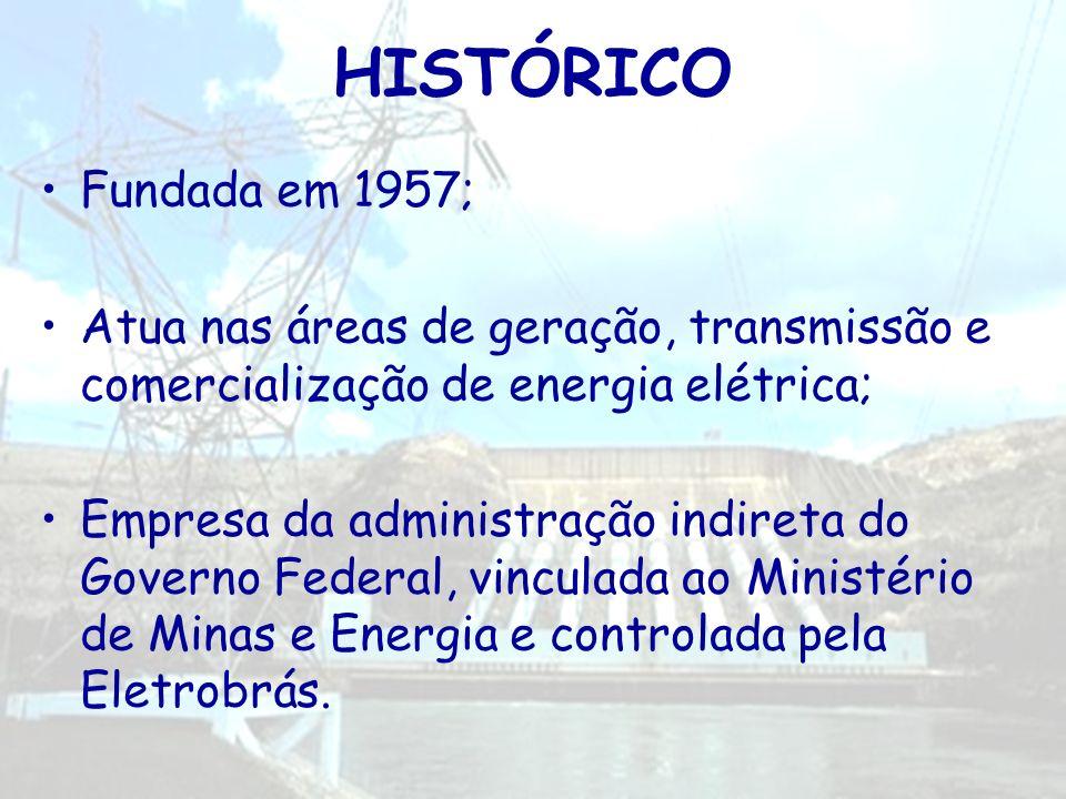 HISTÓRICO Fundada em 1957; Atua nas áreas de geração, transmissão e comercialização de energia elétrica; Empresa da administração indireta do Governo