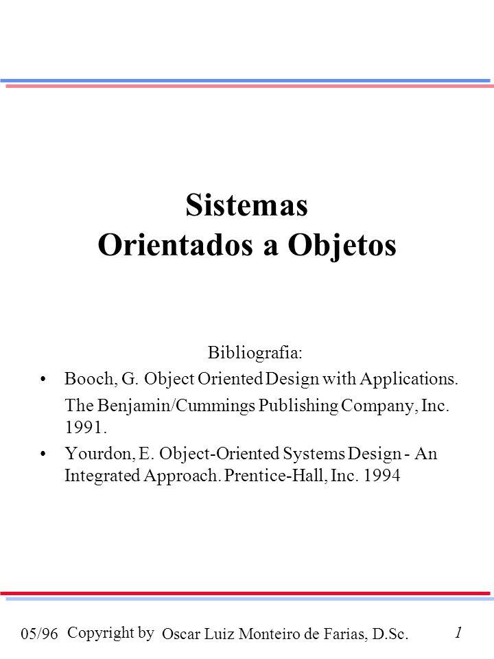 Oscar Luiz Monteiro de Farias, D.Sc.05/96 Copyright by1 Sistemas Orientados a Objetos Bibliografia: Booch, G. Object Oriented Design with Applications
