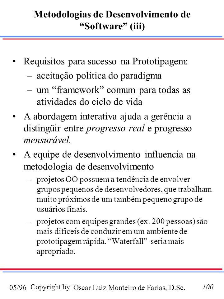Oscar Luiz Monteiro de Farias, D.Sc.05/96 Copyright by100 Requisitos para sucesso na Prototipagem: –aceitação política do paradigma –um framework comu