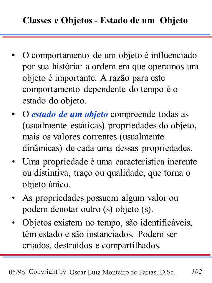 Oscar Luiz Monteiro de Farias, D.Sc.05/96 Copyright by102 O comportamento de um objeto é influenciado por sua história: a ordem em que operamos um obj