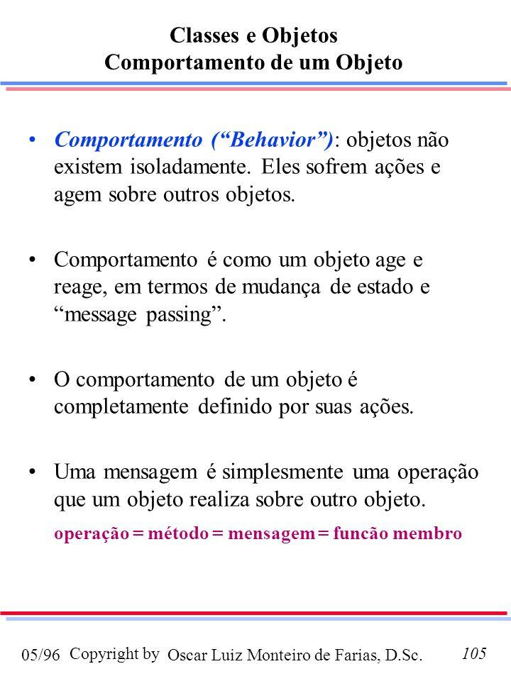 Oscar Luiz Monteiro de Farias, D.Sc.05/96 Copyright by105 Comportamento (Behavior): objetos não existem isoladamente. Eles sofrem ações e agem sobre o