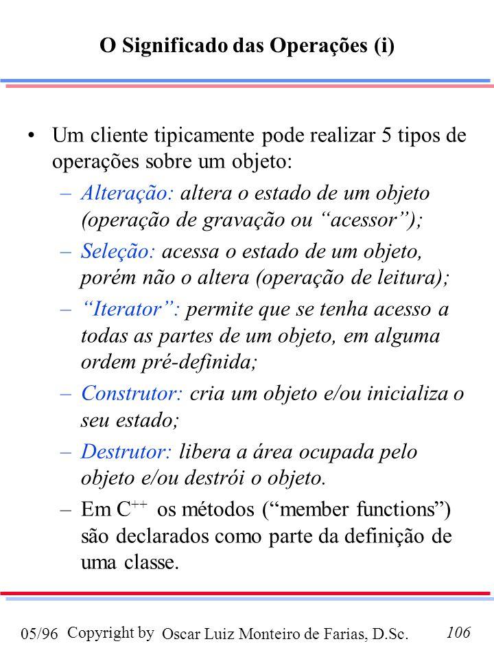 Oscar Luiz Monteiro de Farias, D.Sc.05/96 Copyright by106 O Significado das Operações (i) Um cliente tipicamente pode realizar 5 tipos de operações sobre um objeto: –Alteração: altera o estado de um objeto (operação de gravação ou acessor); –Seleção: acessa o estado de um objeto, porém não o altera (operação de leitura); –Iterator: permite que se tenha acesso a todas as partes de um objeto, em alguma ordem pré-definida; –Construtor: cria um objeto e/ou inicializa o seu estado; –Destrutor: libera a área ocupada pelo objeto e/ou destrói o objeto.