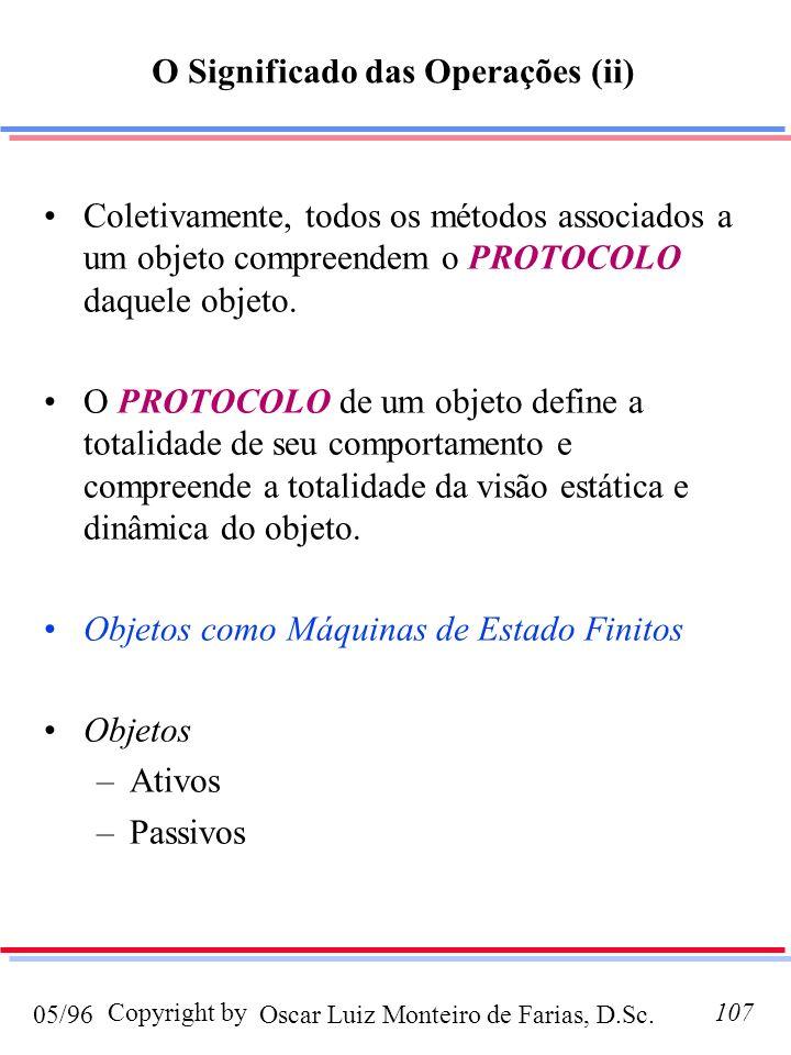 Oscar Luiz Monteiro de Farias, D.Sc.05/96 Copyright by107 Coletivamente, todos os métodos associados a um objeto compreendem o PROTOCOLO daquele objet