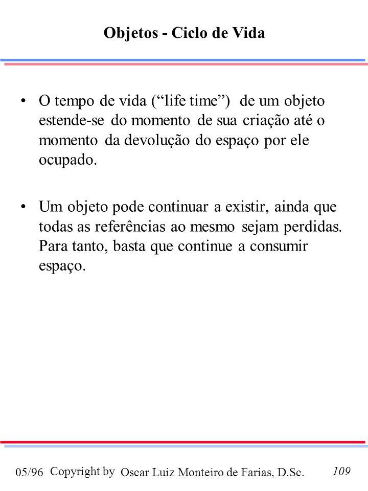 Oscar Luiz Monteiro de Farias, D.Sc.05/96 Copyright by109 O tempo de vida (life time) de um objeto estende-se do momento de sua criação até o momento da devolução do espaço por ele ocupado.