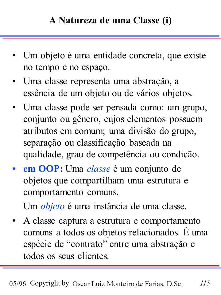 Oscar Luiz Monteiro de Farias, D.Sc.05/96 Copyright by115 A Natureza de uma Classe (i) Um objeto é uma entidade concreta, que existe no tempo e no esp