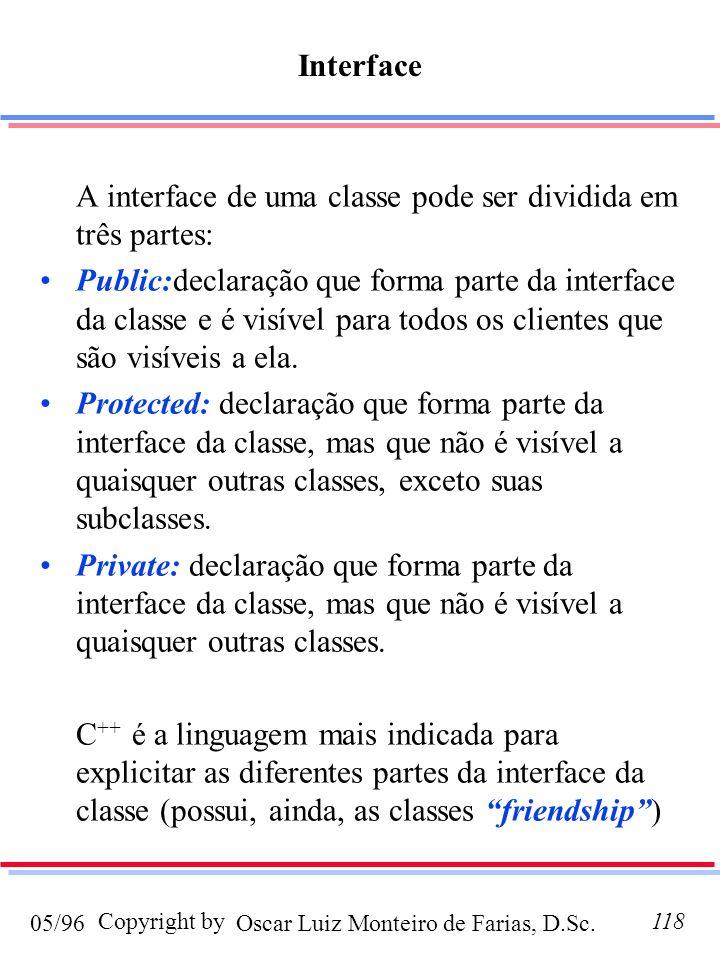 Oscar Luiz Monteiro de Farias, D.Sc.05/96 Copyright by118 Interface A interface de uma classe pode ser dividida em três partes: Public:declaração que forma parte da interface da classe e é visível para todos os clientes que são visíveis a ela.