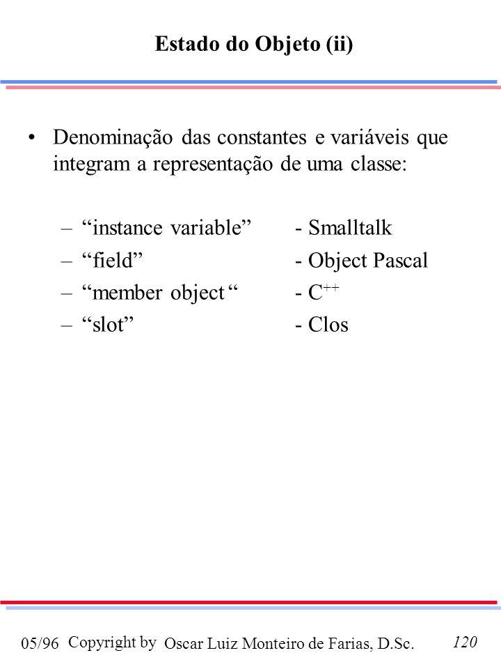 Oscar Luiz Monteiro de Farias, D.Sc.05/96 Copyright by120 Denominação das constantes e variáveis que integram a representação de uma classe: –instance