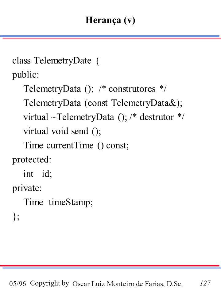 Oscar Luiz Monteiro de Farias, D.Sc.05/96 Copyright by127 class TelemetryDate { public: TelemetryData (); /* construtores */ TelemetryData (const TelemetryData&); virtual ~TelemetryData (); /* destrutor */ virtual void send (); Time currentTime () const; protected: intid; private: Time timeStamp; }; Herança (v)
