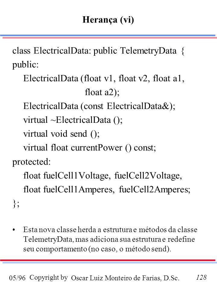 Oscar Luiz Monteiro de Farias, D.Sc.05/96 Copyright by128 class ElectricalData: public TelemetryData { public: ElectricalData (float v1, float v2, float a1, float a2); ElectricalData (const ElectricalData&); virtual ~ElectricalData (); virtual void send (); virtual float currentPower () const; protected: float fuelCell1Voltage, fuelCell2Voltage, float fuelCell1Amperes, fuelCell2Amperes; }; Esta nova classe herda a estrutura e métodos da classe TelemetryData, mas adiciona sua estrutura e redefine seu comportamento (no caso, o método send).