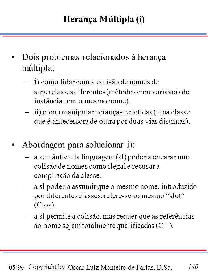 Oscar Luiz Monteiro de Farias, D.Sc.05/96 Copyright by140 Dois problemas relacionados à herança múltipla: –i ) como lidar com a colisão de nomes de superclasses diferentes (métodos e/ou variáveis de instância com o mesmo nome).