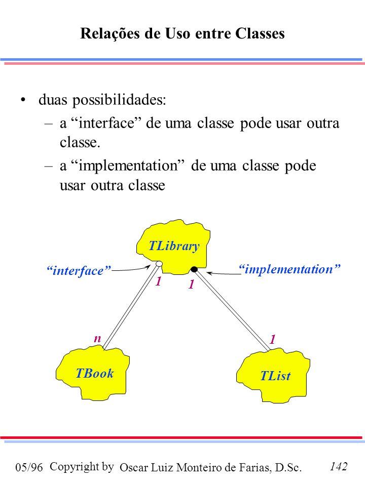 Oscar Luiz Monteiro de Farias, D.Sc.05/96 Copyright by142 Relações de Uso entre Classes duas possibilidades: –a interface de uma classe pode usar outr