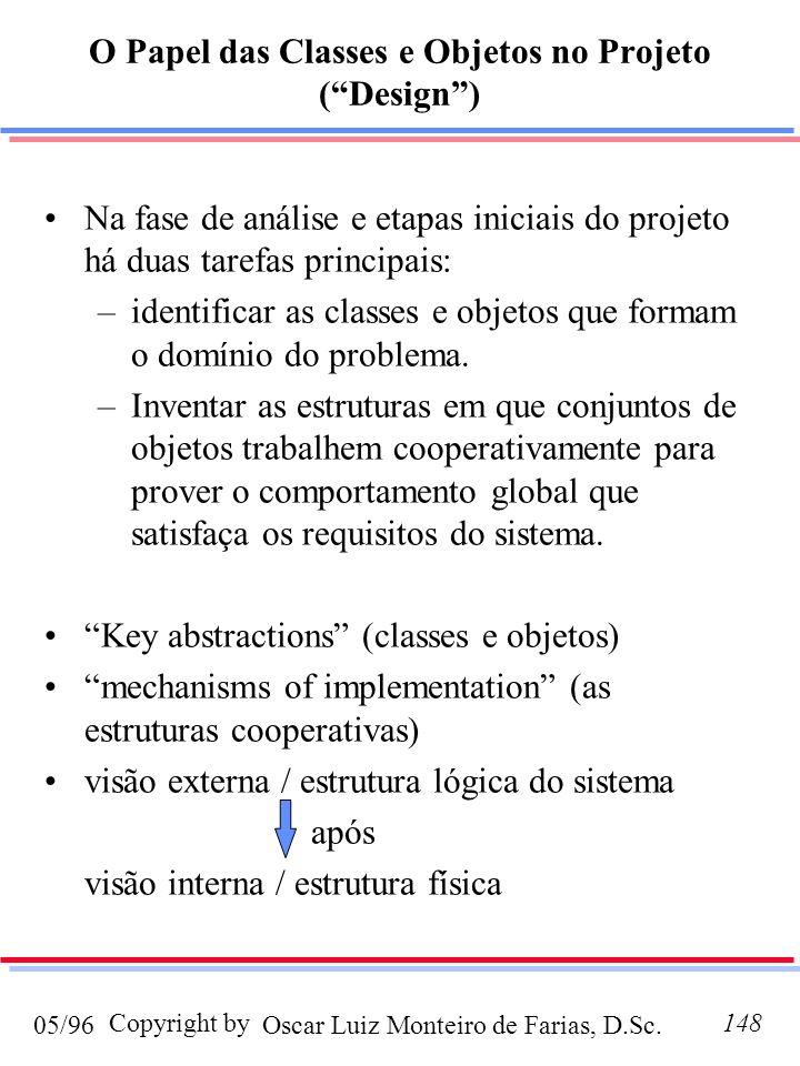 Oscar Luiz Monteiro de Farias, D.Sc.05/96 Copyright by148 O Papel das Classes e Objetos no Projeto (Design) Na fase de análise e etapas iniciais do projeto há duas tarefas principais: –identificar as classes e objetos que formam o domínio do problema.