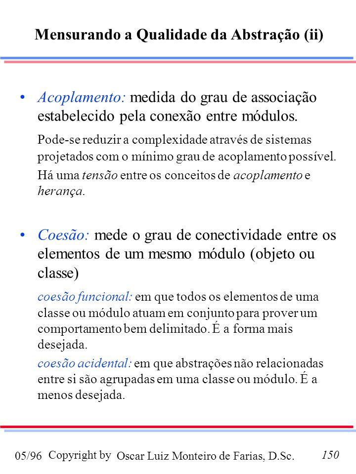 Oscar Luiz Monteiro de Farias, D.Sc.05/96 Copyright by150 Acoplamento: medida do grau de associação estabelecido pela conexão entre módulos. Pode-se r