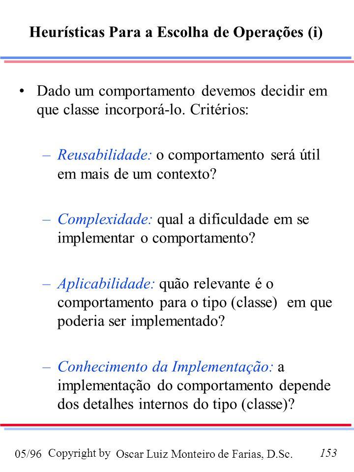 Oscar Luiz Monteiro de Farias, D.Sc.05/96 Copyright by153 Dado um comportamento devemos decidir em que classe incorporá-lo. Critérios: –Reusabilidade: