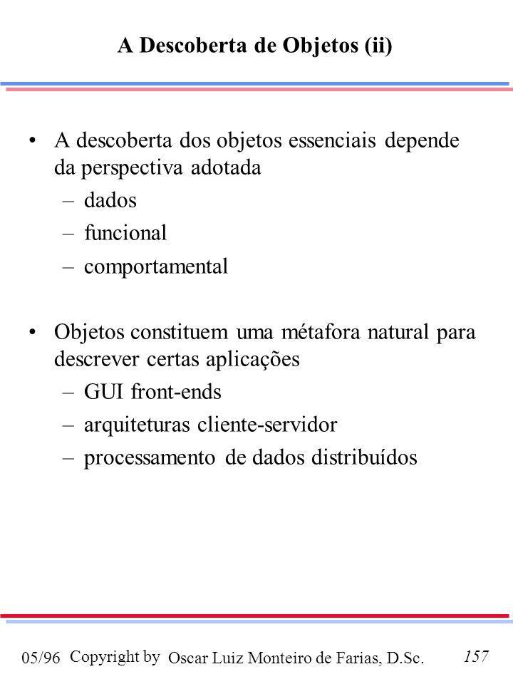 Oscar Luiz Monteiro de Farias, D.Sc.05/96 Copyright by157 A descoberta dos objetos essenciais depende da perspectiva adotada –dados –funcional –comportamental Objetos constituem uma métafora natural para descrever certas aplicações –GUI front-ends –arquiteturas cliente-servidor –processamento de dados distribuídos A Descoberta de Objetos (ii)