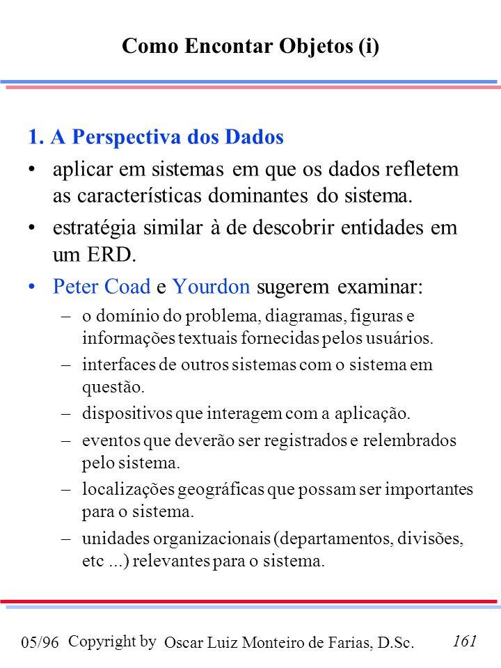Oscar Luiz Monteiro de Farias, D.Sc.05/96 Copyright by161 Como Encontar Objetos (i) 1. A Perspectiva dos Dados aplicar em sistemas em que os dados ref