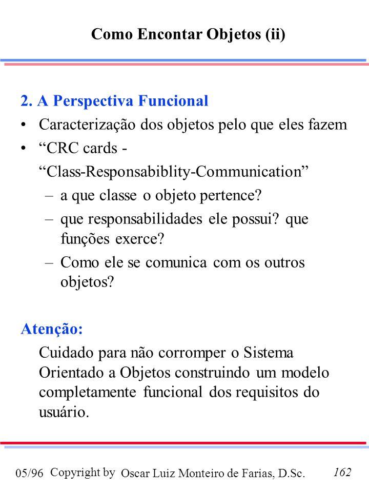Oscar Luiz Monteiro de Farias, D.Sc.05/96 Copyright by162 2. A Perspectiva Funcional Caracterização dos objetos pelo que eles fazem CRC cards - Class-