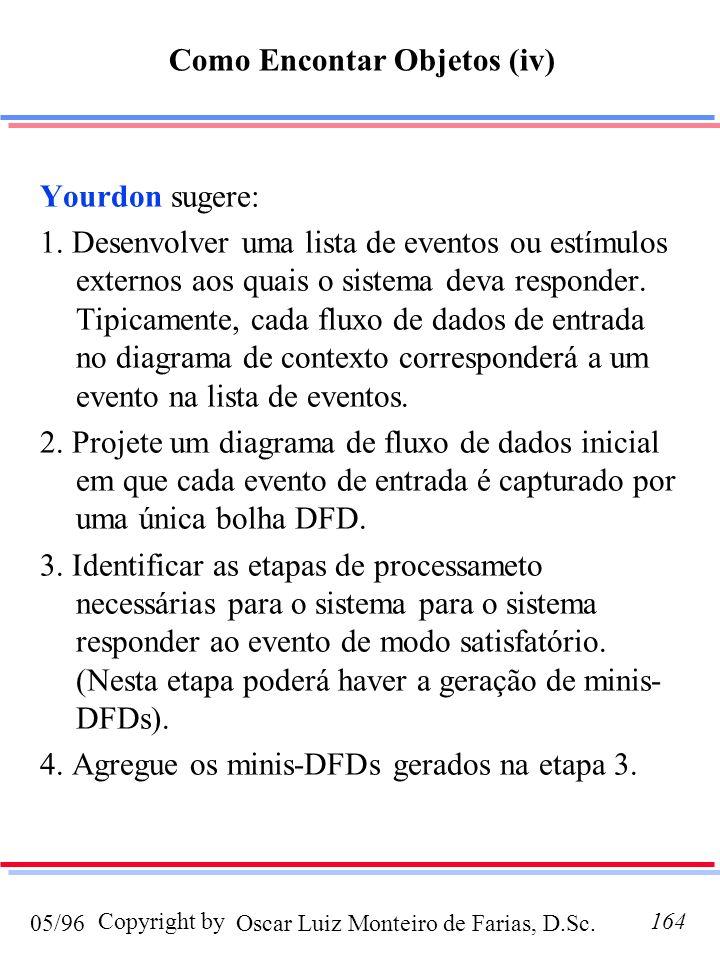 Oscar Luiz Monteiro de Farias, D.Sc.05/96 Copyright by164 Yourdon sugere: 1. Desenvolver uma lista de eventos ou estímulos externos aos quais o sistem