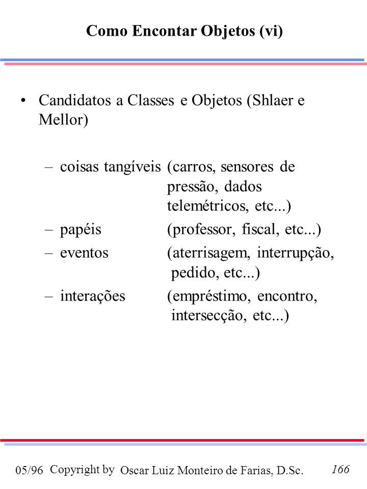 Oscar Luiz Monteiro de Farias, D.Sc.05/96 Copyright by166 Candidatos a Classes e Objetos (Shlaer e Mellor) –coisas tangíveis(carros, sensores de pressão, dados telemétricos, etc...) –papéis(professor, fiscal, etc...) –eventos(aterrisagem, interrupção, pedido, etc...) –interações(empréstimo, encontro, intersecção, etc...) Como Encontar Objetos (vi)