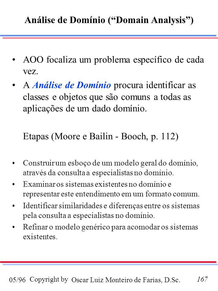 Oscar Luiz Monteiro de Farias, D.Sc.05/96 Copyright by167 Análise de Domínio (Domain Analysis) AOO focaliza um problema específico de cada vez. A Anál