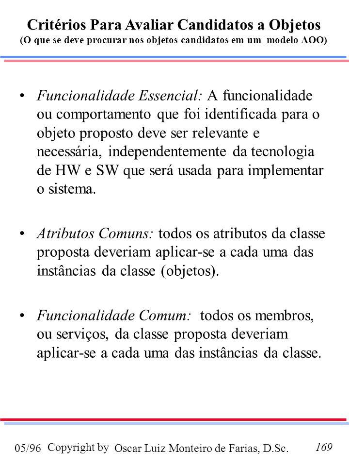Oscar Luiz Monteiro de Farias, D.Sc.05/96 Copyright by169 Funcionalidade Essencial: A funcionalidade ou comportamento que foi identificada para o obje