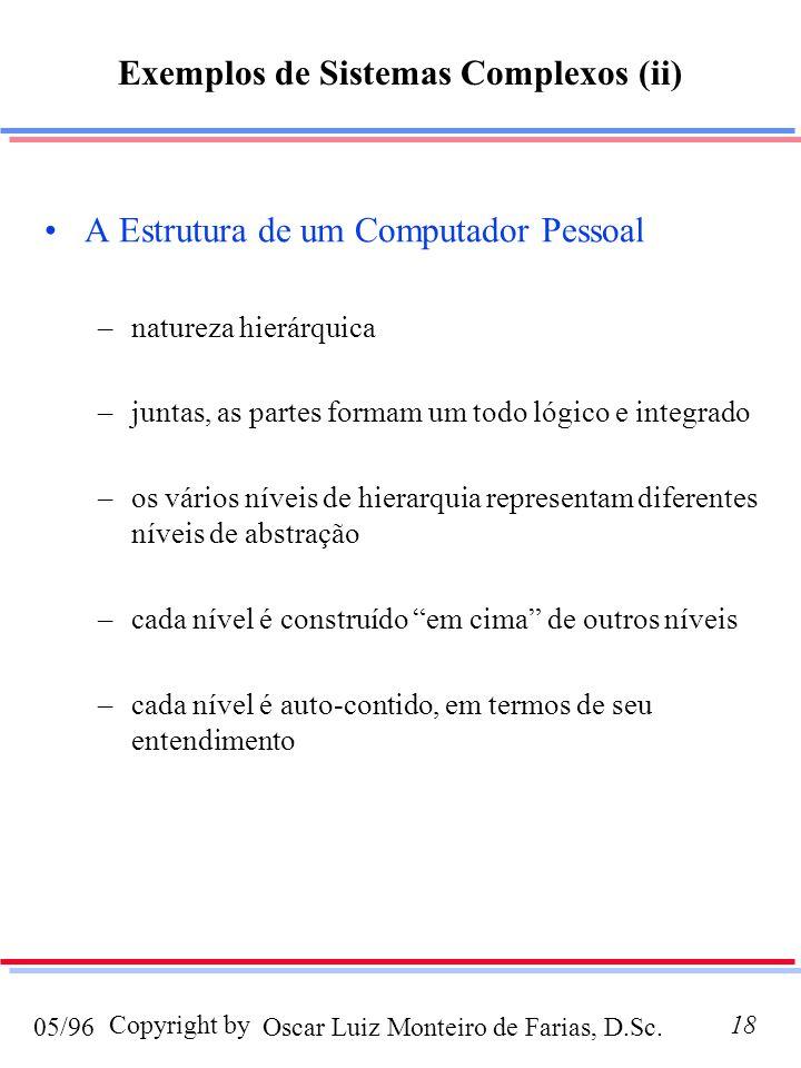Oscar Luiz Monteiro de Farias, D.Sc.05/96 Copyright by18 A Estrutura de um Computador Pessoal –natureza hierárquica –juntas, as partes formam um todo lógico e integrado –os vários níveis de hierarquia representam diferentes níveis de abstração –cada nível é construído em cima de outros níveis –cada nível é auto-contido, em termos de seu entendimento Exemplos de Sistemas Complexos (ii)