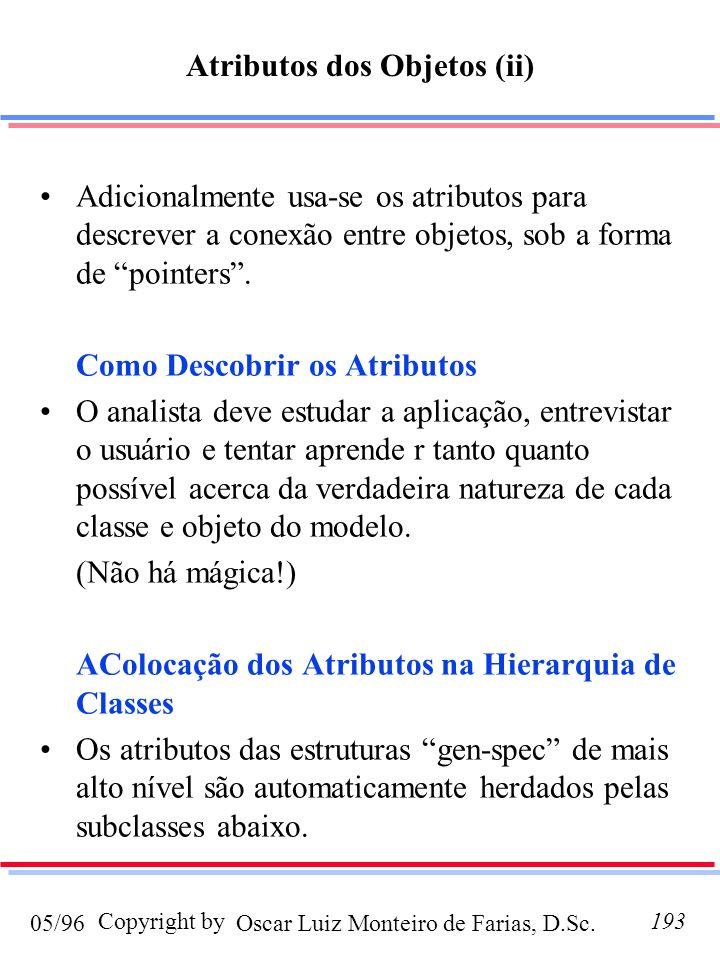 Oscar Luiz Monteiro de Farias, D.Sc.05/96 Copyright by193 Atributos dos Objetos (ii) Adicionalmente usa-se os atributos para descrever a conexão entre objetos, sob a forma de pointers.
