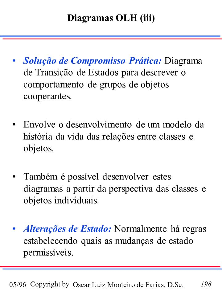 Oscar Luiz Monteiro de Farias, D.Sc.05/96 Copyright by198 Solução de Compromisso Prática: Diagrama de Transição de Estados para descrever o comportamento de grupos de objetos cooperantes.