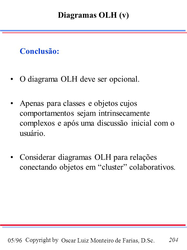 Oscar Luiz Monteiro de Farias, D.Sc.05/96 Copyright by204 Conclusão: O diagrama OLH deve ser opcional. Apenas para classes e objetos cujos comportamen