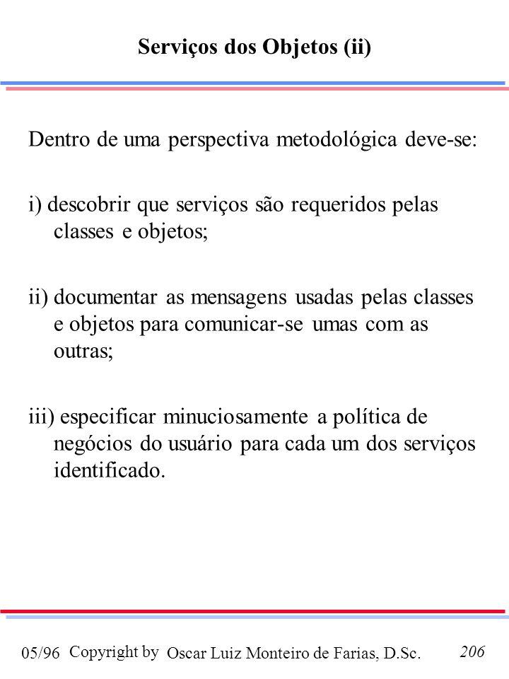 Oscar Luiz Monteiro de Farias, D.Sc.05/96 Copyright by206 Dentro de uma perspectiva metodológica deve-se: i) descobrir que serviços são requeridos pel