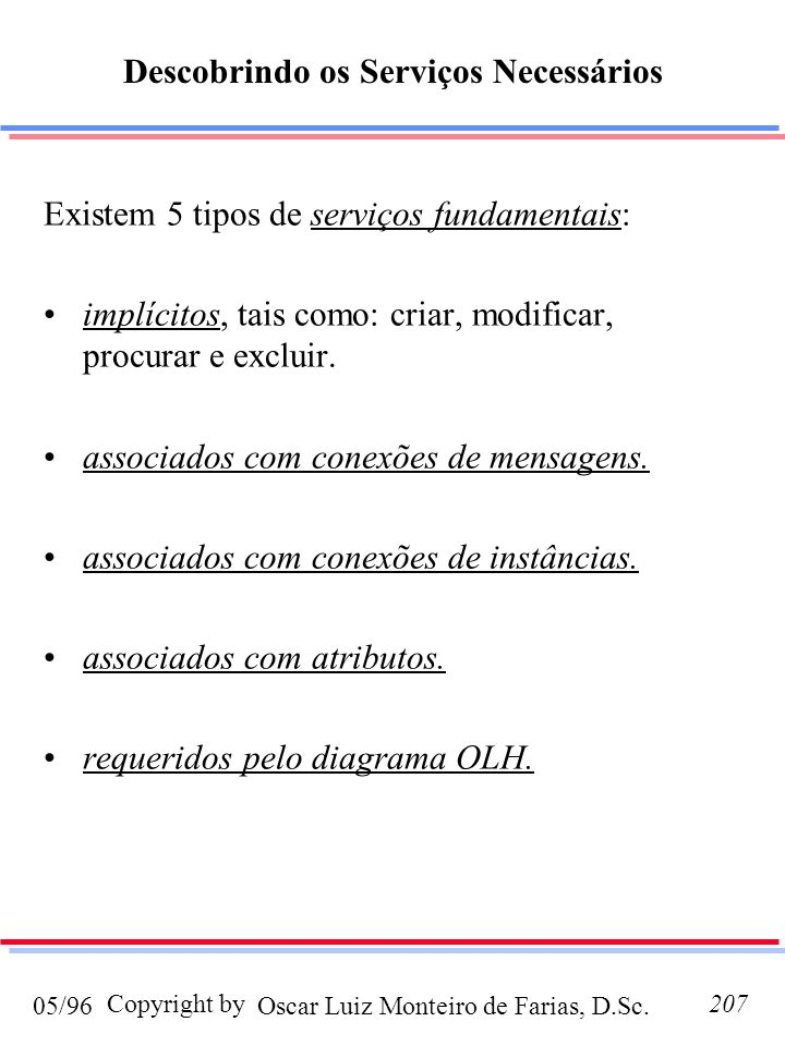 Oscar Luiz Monteiro de Farias, D.Sc.05/96 Copyright by207 Descobrindo os Serviços Necessários Existem 5 tipos de serviços fundamentais: implícitos, tais como: criar, modificar, procurar e excluir.