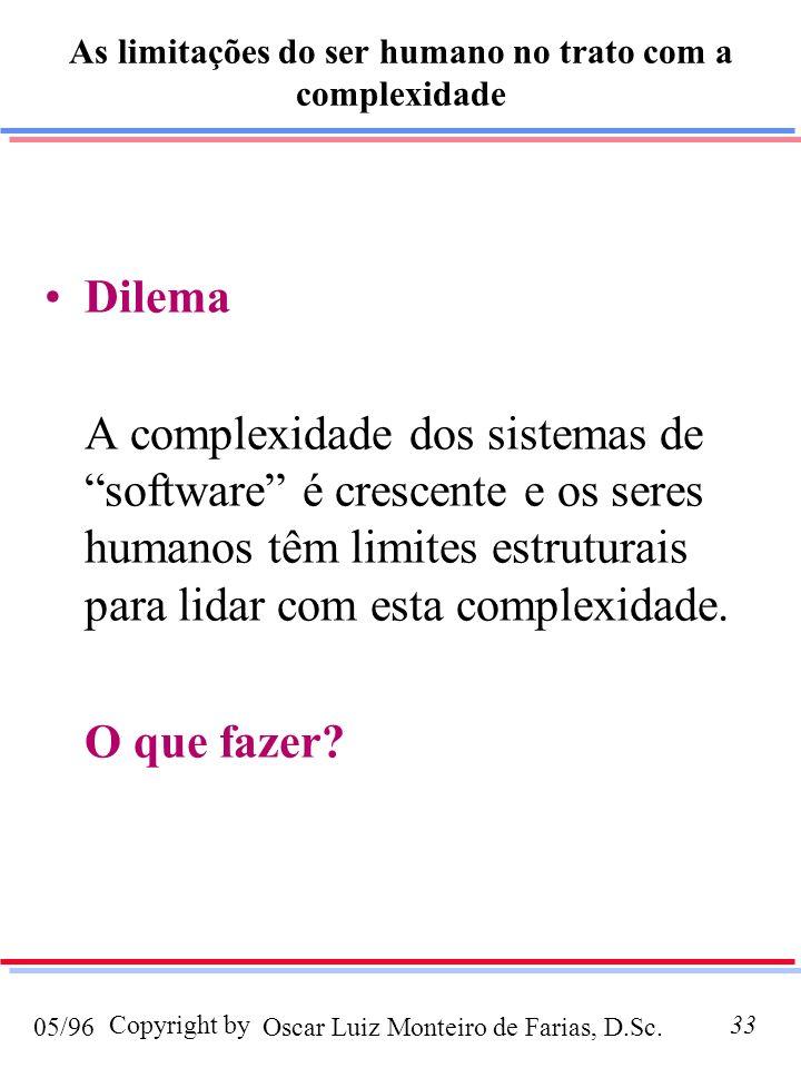 Oscar Luiz Monteiro de Farias, D.Sc.05/96 Copyright by33 As limitações do ser humano no trato com a complexidade Dilema A complexidade dos sistemas de software é crescente e os seres humanos têm limites estruturais para lidar com esta complexidade.