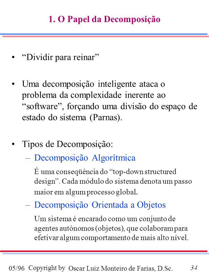 Oscar Luiz Monteiro de Farias, D.Sc.05/96 Copyright by34 1. O Papel da Decomposição Dividir para reinar Uma decomposição inteligente ataca o problema