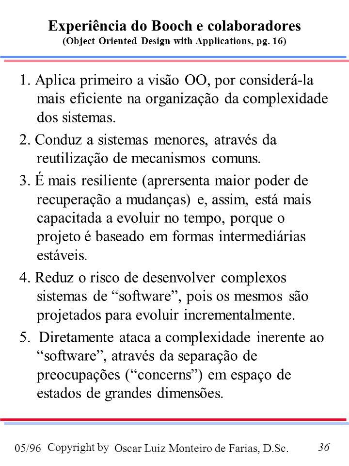 Oscar Luiz Monteiro de Farias, D.Sc.05/96 Copyright by36 Experiência do Booch e colaboradores (Object Oriented Design with Applications, pg.