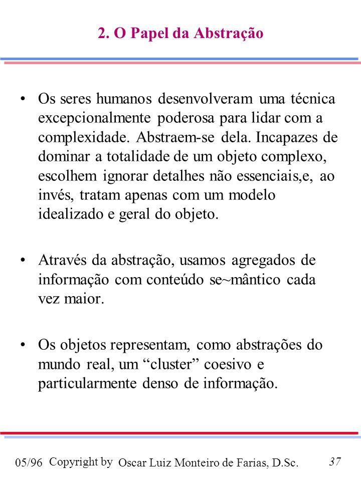 Oscar Luiz Monteiro de Farias, D.Sc.05/96 Copyright by37 2. O Papel da Abstração Os seres humanos desenvolveram uma técnica excepcionalmente poderosa