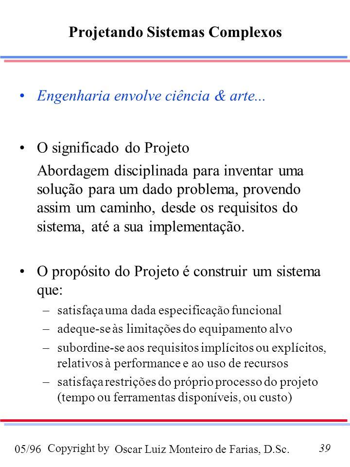 Oscar Luiz Monteiro de Farias, D.Sc.05/96 Copyright by39 Projetando Sistemas Complexos Engenharia envolve ciência & arte... O significado do Projeto A