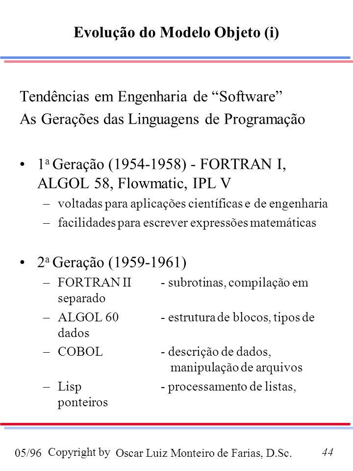 Oscar Luiz Monteiro de Farias, D.Sc.05/96 Copyright by44 Evolução do Modelo Objeto (i) Tendências em Engenharia de Software As Gerações das Linguagens