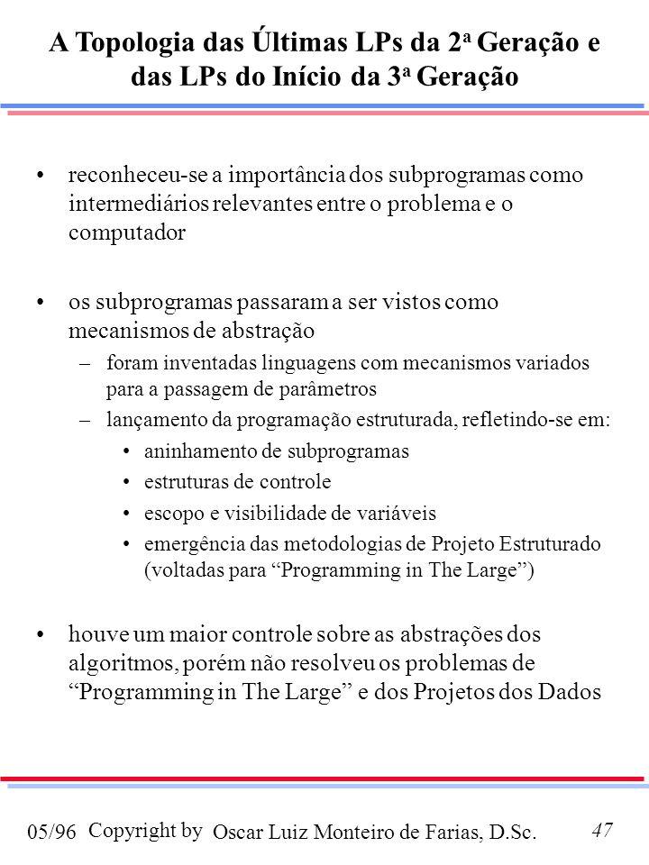 Oscar Luiz Monteiro de Farias, D.Sc.05/96 Copyright by47 reconheceu-se a importância dos subprogramas como intermediários relevantes entre o problema e o computador os subprogramas passaram a ser vistos como mecanismos de abstração –foram inventadas linguagens com mecanismos variados para a passagem de parâmetros –lançamento da programação estruturada, refletindo-se em: aninhamento de subprogramas estruturas de controle escopo e visibilidade de variáveis emergência das metodologias de Projeto Estruturado (voltadas para Programming in The Large) houve um maior controle sobre as abstrações dos algoritmos, porém não resolveu os problemas de Programming in The Large e dos Projetos dos Dados A Topologia das Últimas LPs da 2 a Geração e das LPs do Início da 3 a Geração