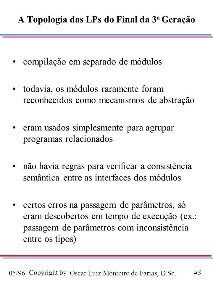 Oscar Luiz Monteiro de Farias, D.Sc.05/96 Copyright by48 A Topologia das LPs do Final da 3 a Geração compilação em separado de módulos todavia, os módulos raramente foram reconhecidos como mecanismos de abstração eram usados simplesmente para agrupar programas relacionados não havia regras para verificar a consistência semântica entre as interfaces dos módulos certos erros na passagem de parâmetros, só eram descobertos em tempo de execução (ex.: passagem de parâmetros com inconsistência entre os tipos)