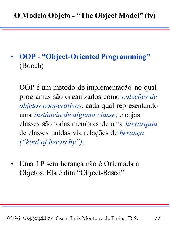 Oscar Luiz Monteiro de Farias, D.Sc.05/96 Copyright by53 OOP - Object-Oriented Programming (Booch) OOP é um metodo de implementação no qual programas são organizados como coleções de objetos cooperativos, cada qual representando uma instância de alguma classe, e cujas classes são todas membras de uma hierarquia de classes unidas via relações de herança (kind of herarchy).