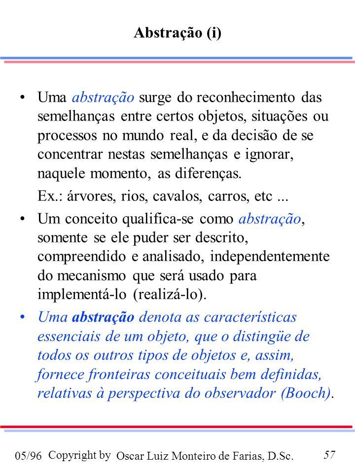 Oscar Luiz Monteiro de Farias, D.Sc.05/96 Copyright by57 Abstração (i) Uma abstração surge do reconhecimento das semelhanças entre certos objetos, situações ou processos no mundo real, e da decisão de se concentrar nestas semelhanças e ignorar, naquele momento, as diferenças.