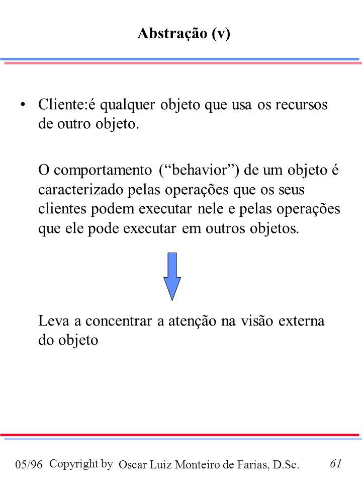 Oscar Luiz Monteiro de Farias, D.Sc.05/96 Copyright by61 Abstração (v) Cliente:é qualquer objeto que usa os recursos de outro objeto. O comportamento
