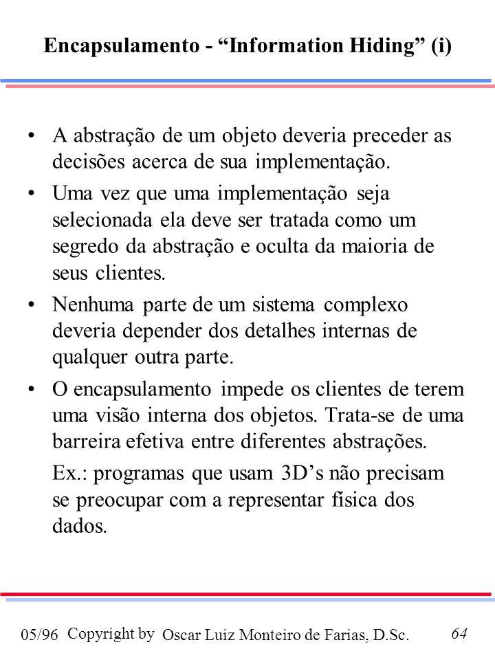 Oscar Luiz Monteiro de Farias, D.Sc.05/96 Copyright by64 Encapsulamento - Information Hiding (i) A abstração de um objeto deveria preceder as decisões