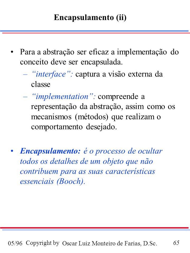 Oscar Luiz Monteiro de Farias, D.Sc.05/96 Copyright by65 Para a abstração ser eficaz a implementação do conceito deve ser encapsulada. –interface: cap