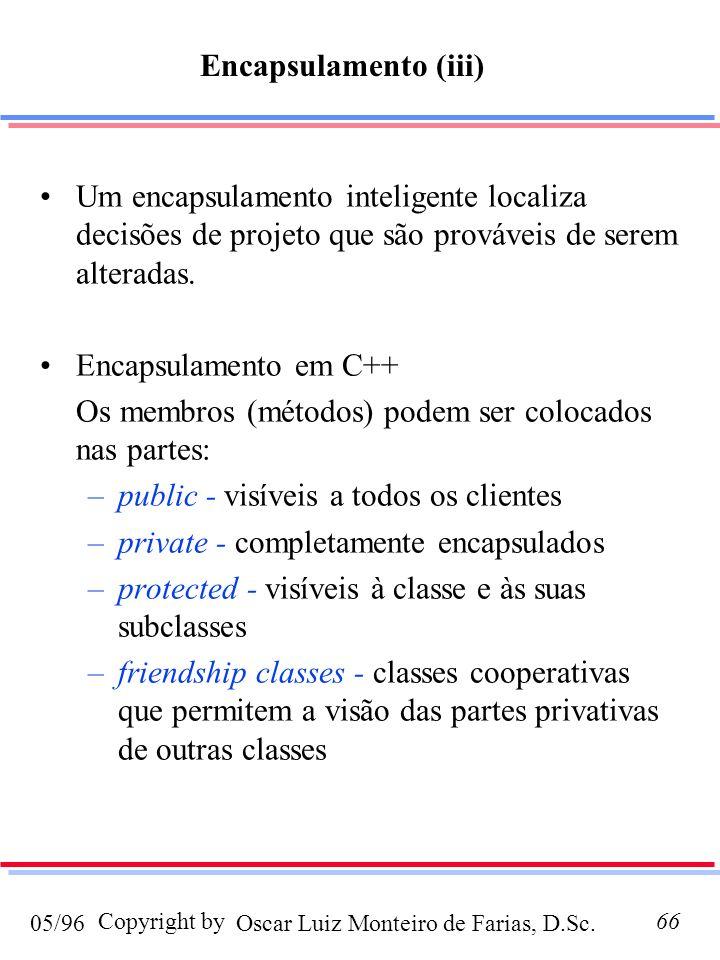 Oscar Luiz Monteiro de Farias, D.Sc.05/96 Copyright by66 Um encapsulamento inteligente localiza decisões de projeto que são prováveis de serem alteradas.