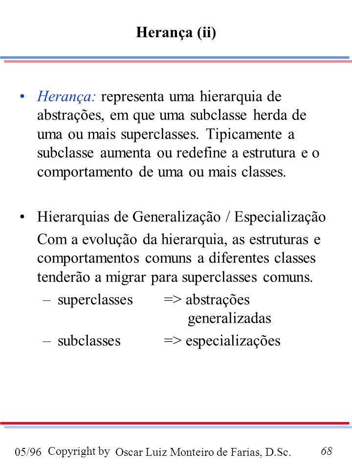 Oscar Luiz Monteiro de Farias, D.Sc.05/96 Copyright by68 Herança: representa uma hierarquia de abstrações, em que uma subclasse herda de uma ou mais s