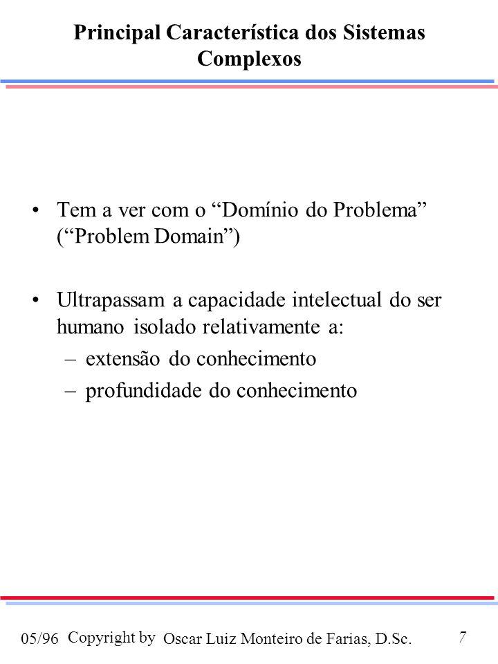 Oscar Luiz Monteiro de Farias, D.Sc.05/96 Copyright by7 Principal Característica dos Sistemas Complexos Tem a ver com o Domínio do Problema (Problem Domain) Ultrapassam a capacidade intelectual do ser humano isolado relativamente a: –extensão do conhecimento –profundidade do conhecimento